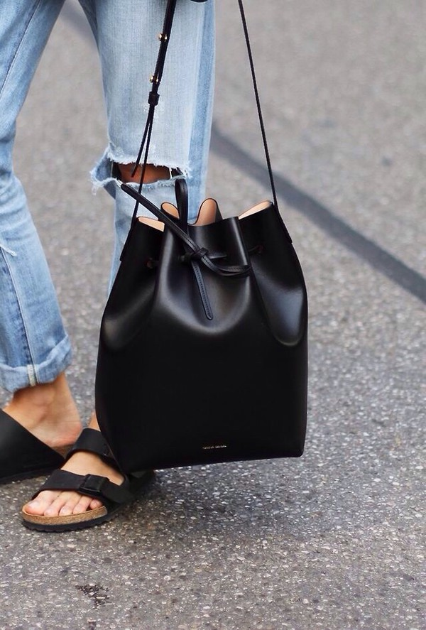 bag shoulder black small leather bag bucket bag accessories jeans mansur gavriel leather bucket bag black leather bucket bag black bucket bag slide shoes double strap slides ripped jeans birkenstocks black slides