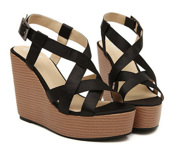 shoes sandals summer black wedge heel platform