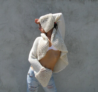 sweater white jeans crochet ivory shrug bolero knitwear bridal gown wedding clothes lace top wedding dress snow bell sleeves amazing unique casual streetstyle
