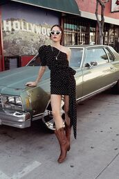 shoes,boots,brown boots,black dress,one shoulder dress,sunglasses