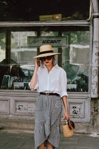 shirt hat tumblr white shirt skirt wrap ruffle skirt wrap skirt gingham gingham skirt bag sun hat sunglasses