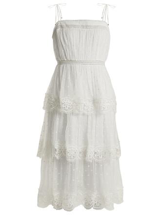dress silk dress lace silk white