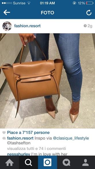 bag jeans camel straps camel bag camel coat leather bag leather jacket high waisted denim shorts beautiful bags brown bag nude heels nude high heels purse bags and purses nude bag caramel handbag