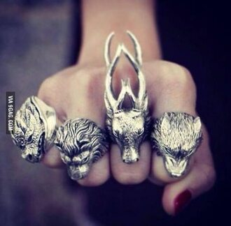 jewels ring deer wolf lion dragon statement ring