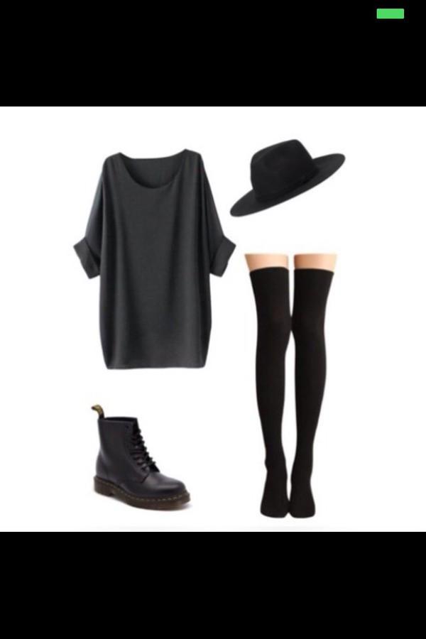 dress hat black shirt grunge boho vintage hipster dark black dress collared dress