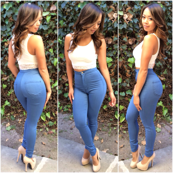 Super High Waist Denim Skinnies - Medium Blue | Fashion Nova