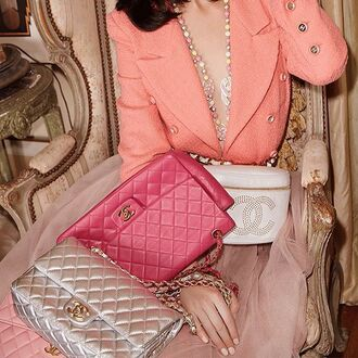 bag nastygal chanel vintage chanel quilted pink leather luxe luxury designer