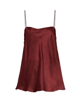 top silk satin burgundy
