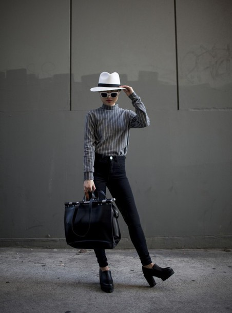 la vagabond dame blogger striped sweater fedora maxi bag black bag hat sunglasses shirt jeans shoes bag
