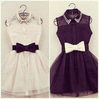 dress white dress black bow