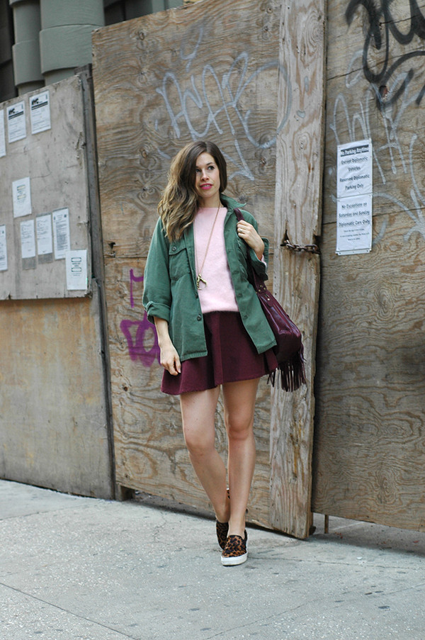 orchid grey jacket sweater skirt shoes bag jewels
