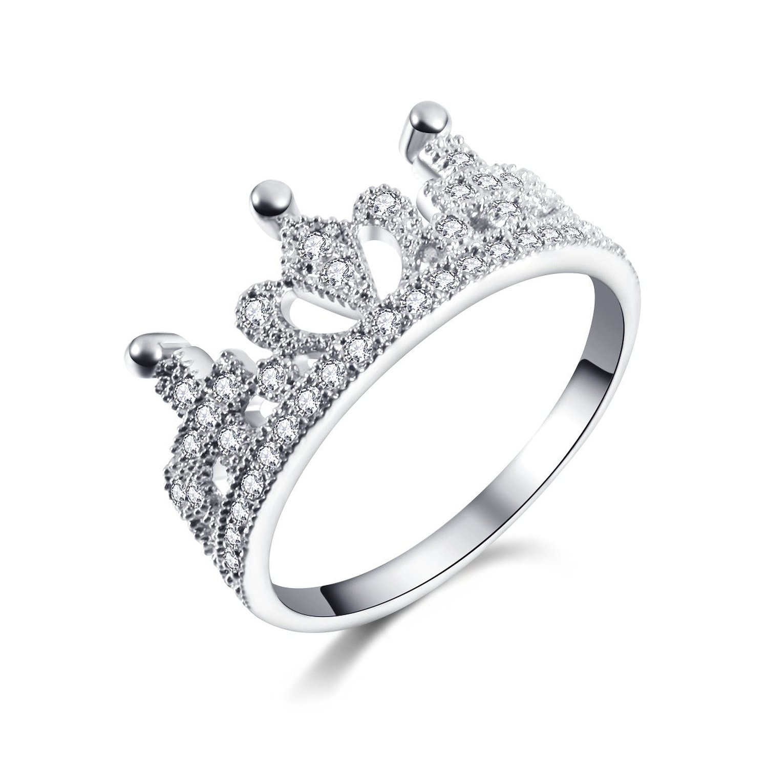 Amazon.com: mp rhodium plated lovely crown shape white cz silver ring 061788j j0701 size us 6: clothing