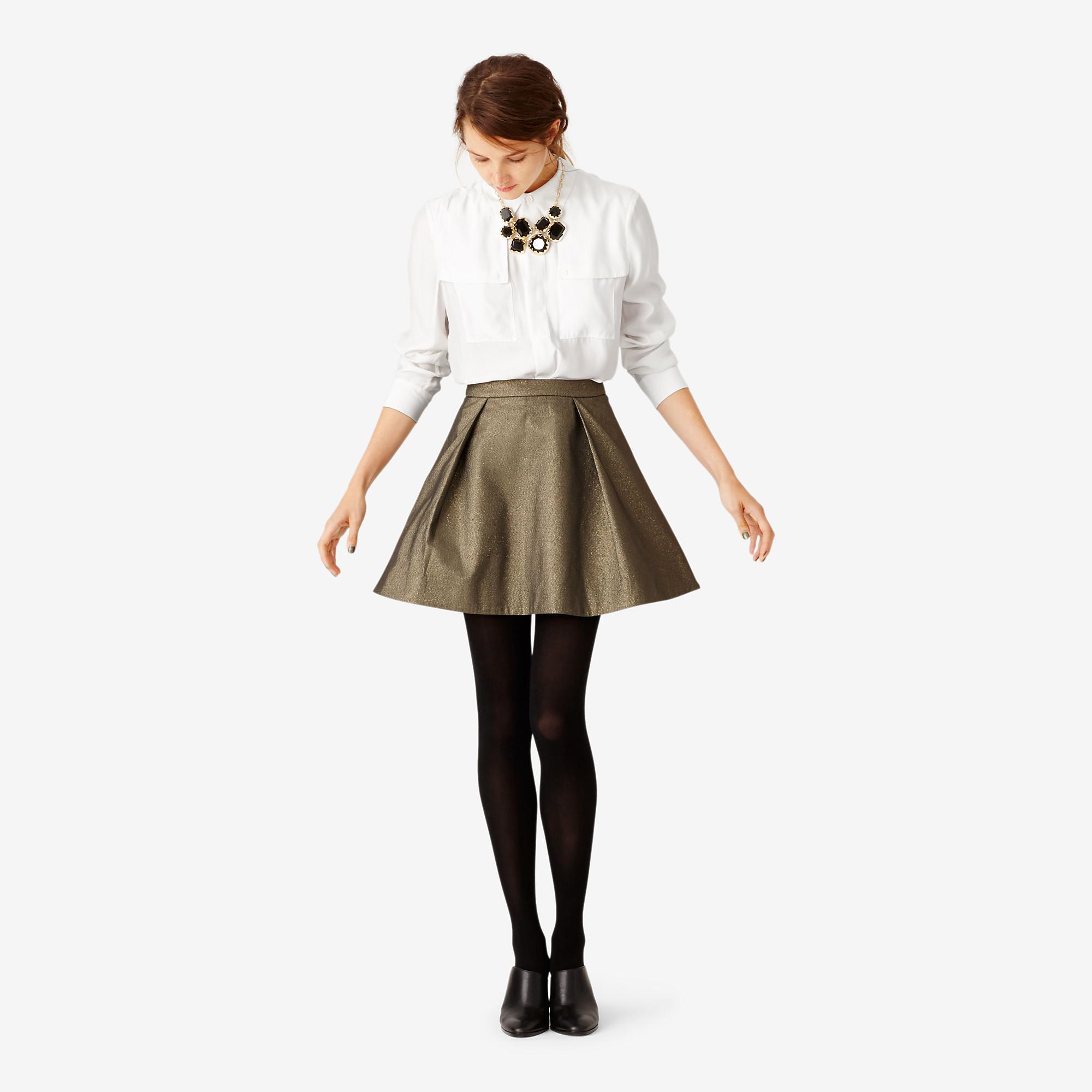 Deep pleat mini skirt in gold