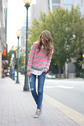 southern curls and pearls,blogger,jewels,blouse,jeans,make-up,nail polish,jacket,necklace,bows,striped sweater,ripped jeans,sandals