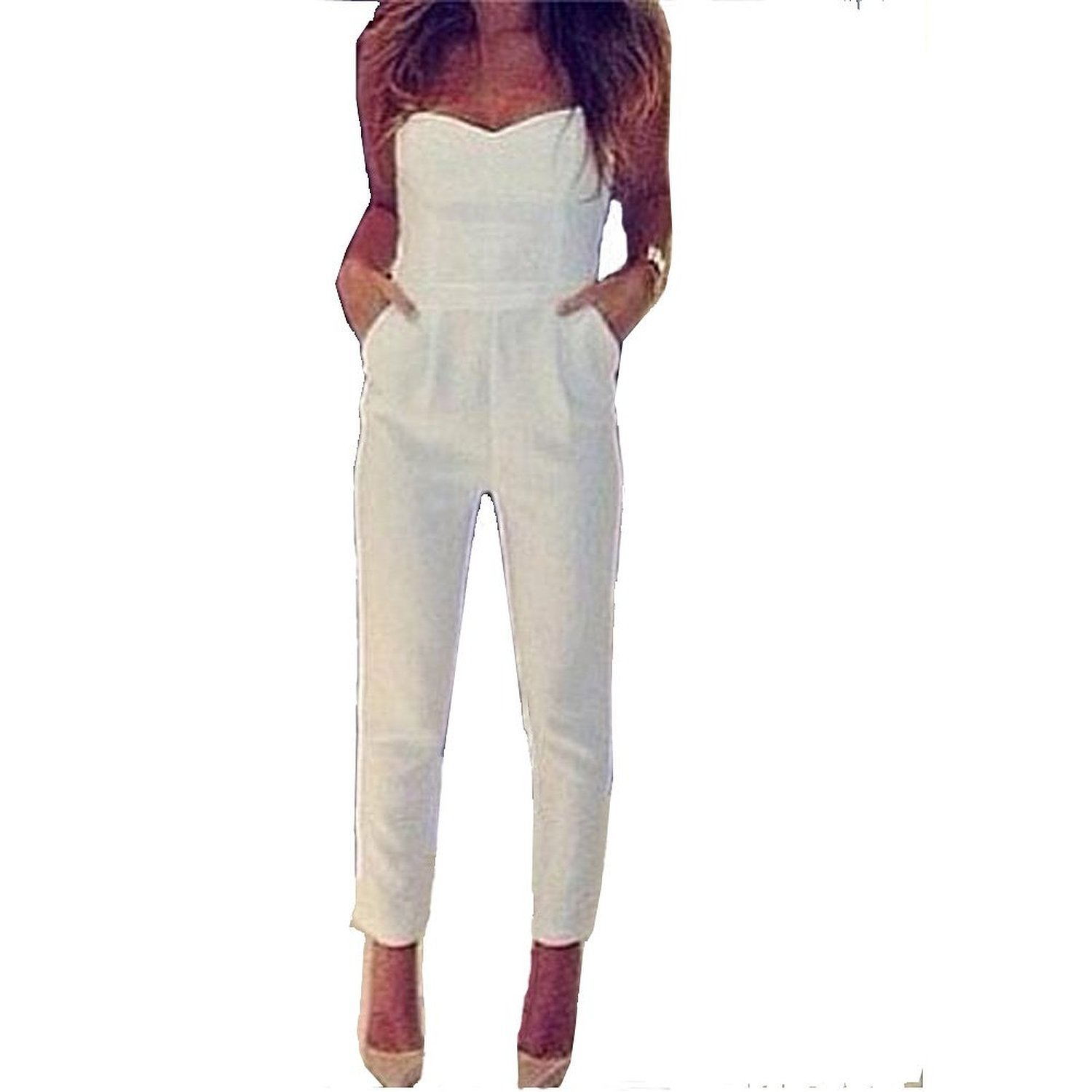 Amazon.com: Sexy Strapless V Neck Jumpsuits Romper Bodysuit Long Pants Tight Waist W/pockets: Clothing