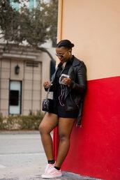 pinksole,blogger,sunglasses,jewels,romper,jacket,shoes,bag,all black everything,black leather jacket,shoulder bag,sneakers,vans