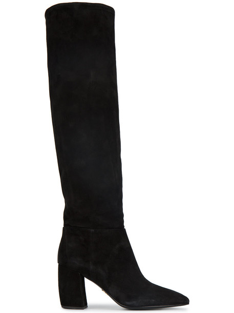 Prada high women knee high knee high boots leather suede black shoes