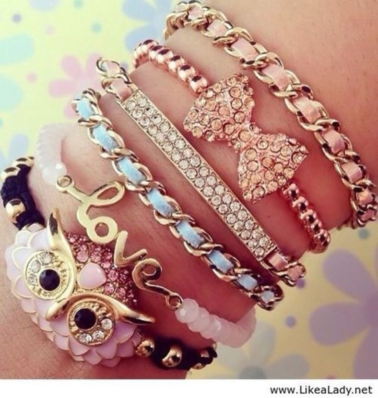owl cute jewels pink