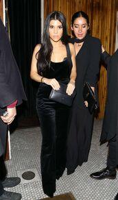 jumpsuit,top,all black everything,kourtney kardashian,pants,velvet,black