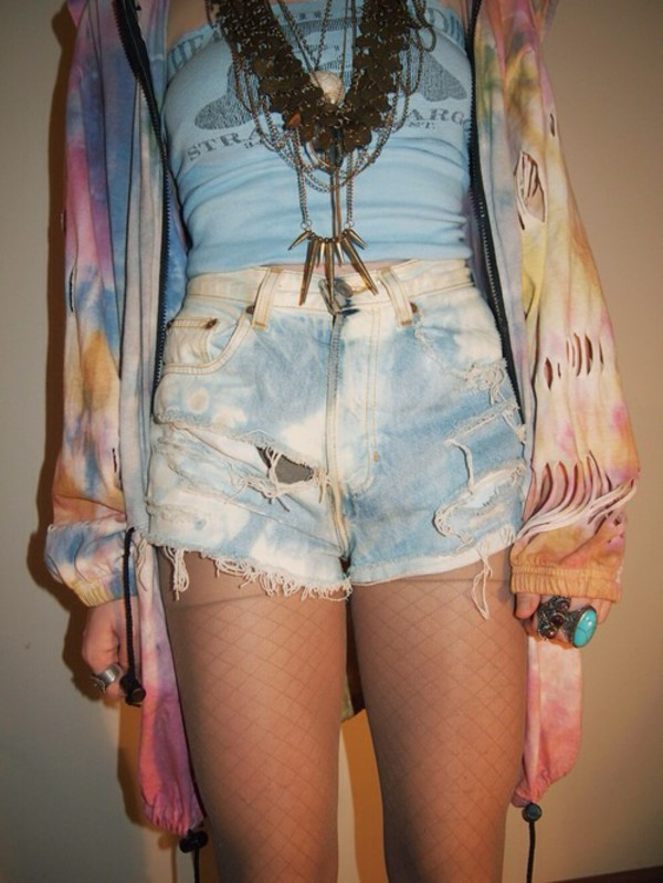 cardigan tie dye hippie shorts top