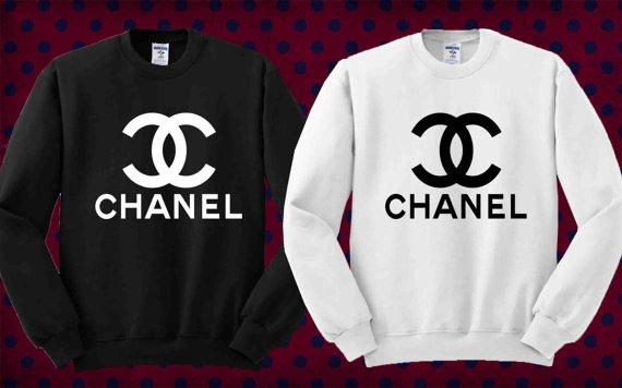 Logo chanel noir et blanc de weater sweatshirt taille unisexe