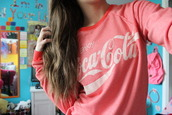 sweater,sweatshirt,jumper,cocacola,pink,hoodie,red,coca,cola,coca cola sweater grey,shirt,coca cola,looking for this sweater