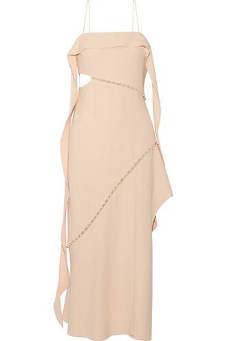 dress midi dress midi pearl embellished beige