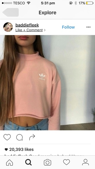 sweater adidas adidas shoes trendy pink white topt top white top pink top yr