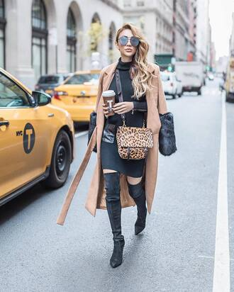coat tumblr camel coat camel sweater dress black dress winter dress mini dress knitted dress knitwear turtleneck dress bag leopard print crossbody bag coffee boots over the knee boots black boots pointed boots thigh high boots sunglasses winter outfits winter coat winter look knitted mini dress