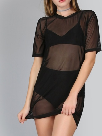 dress mesh mesh top mesh dress black shirt