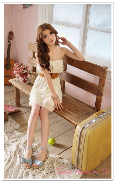 Spring Women's Strapless Chiffon Lace Sexy Lady Casual Summer Mini Belt Dress | eBay