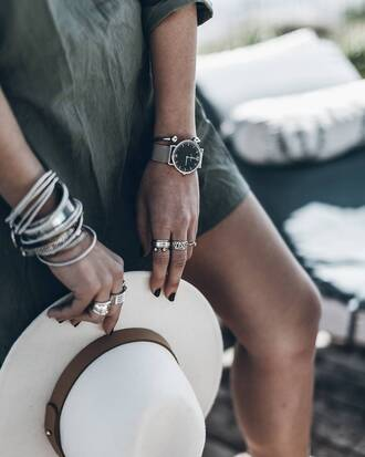 jewels tumblr stacked bracelets bracelets silver bracelet jewelry silver jewelry watch silver watch ring silver ring hat white hat accessories accessory