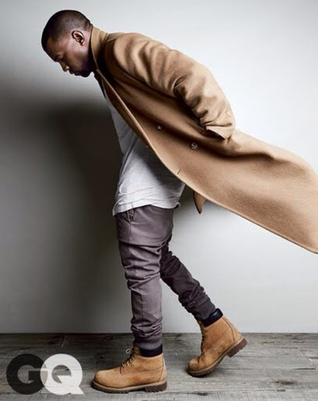 kanye west t-shirt jeans trench coat