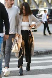 top,cardigan,streetstyle,fall sweater,fall outfits,selena gomez,celebrity,strapless,pants