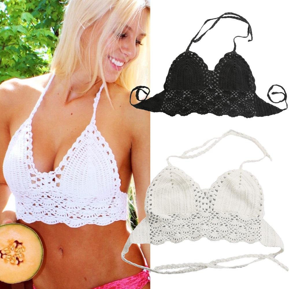 eb87238a854 Aliexpress.com   Buy Handmade Crochet Bikini Classic Croptop Backless  Sports Crochet Bras Women Knitted Brassiere Crop ...