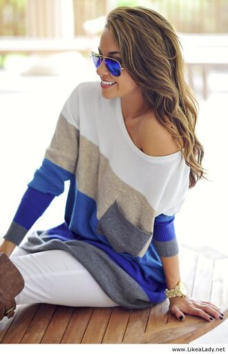 sweater sunglasses blue shirt blouse top white top