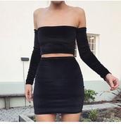 top,top & skirt,velvet,velvet two piece,two piece dress set,two piece body con,black velvet