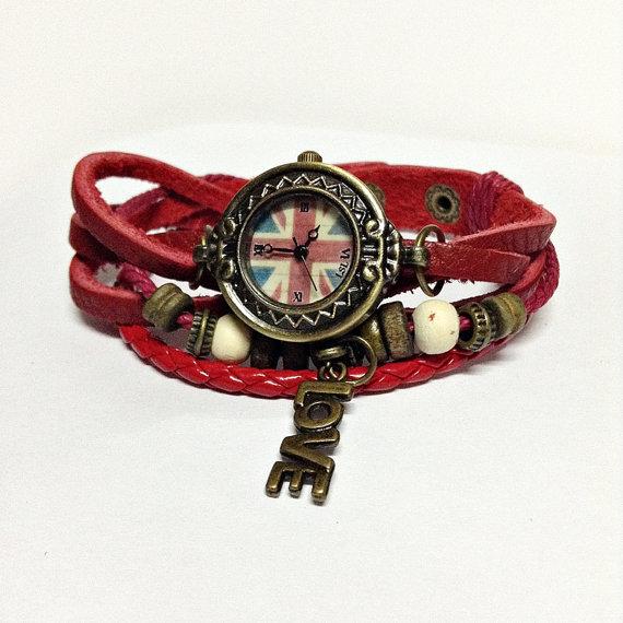 British flag watch wrap watch  vintage style charm by freeforme