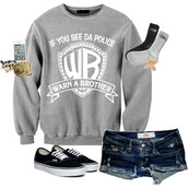 sweater,if you see da police,warn a brother,vans,hollister,grey and white