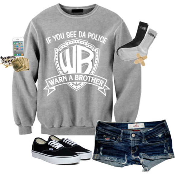 warn a brother if you see da police sweater vans hollister grey and white