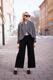 chaloth,blogger,grey jacket,wide-leg pants