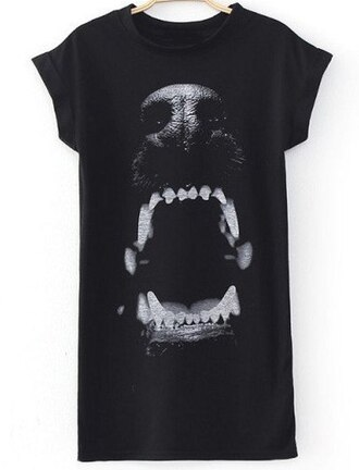 t-shirt black dog she inside black dress printed sweater short sleeves dress hipster dog print