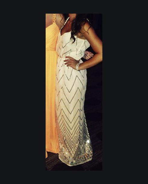 dress chevron prom dress casual dress white dress gold sequins chevron homecoming dress maxi dress long prom dress chevron dresses