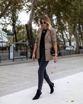 shoes,boots,black boots,ankle boots,mid heel boots,skinny jeans,grey jeans,black blouse,blazer,check blazer,shoulder bag,round sunglasses