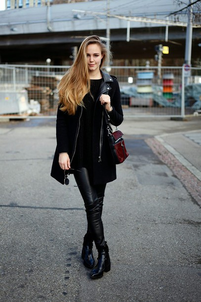 bonsoir cherie blogger bag leather pants black coat