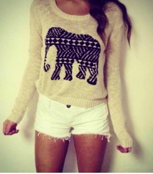 sweater shorts shirt cute elephant elephant sweater blouse tumblr soft grunge long sleeves top pullover elephant romper girly hipster black cozy trendy oversized white shorts white tribal elephant sepia