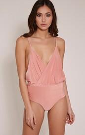underwear,bodysuit,pink,draped,peach