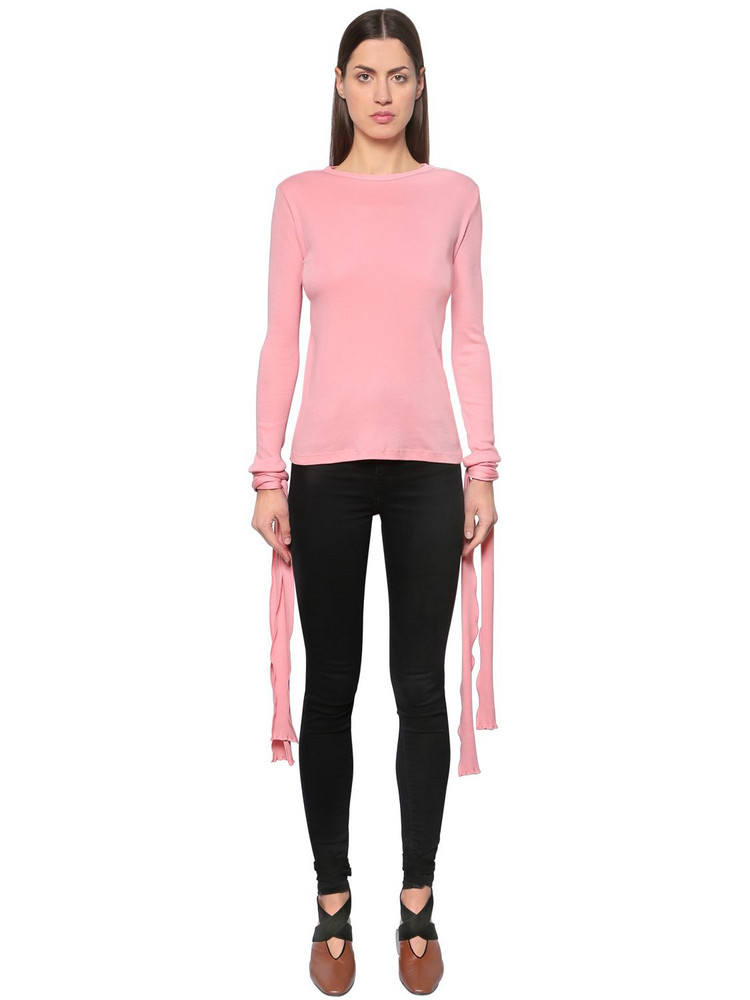 J.W.ANDERSON Ribbed Cotton Jersey Top W/ Tie Cuffs in pink
