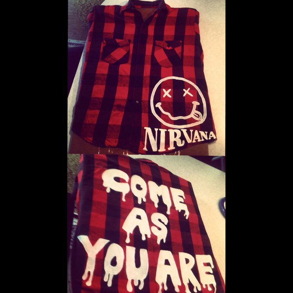 flannel nirvana band t-shirt oversized sweater jacket