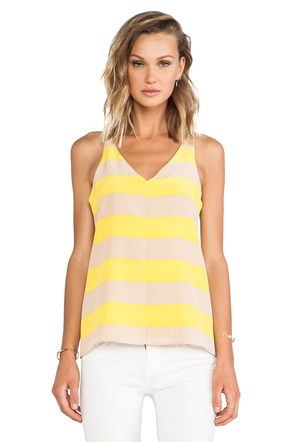 Tibi Striped Silk Tank in Citrine Multi | REVOLVE